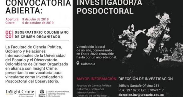 Convocatoria Posición Postdoctoral en el Observatorio Colombiano de Crimen Organizado