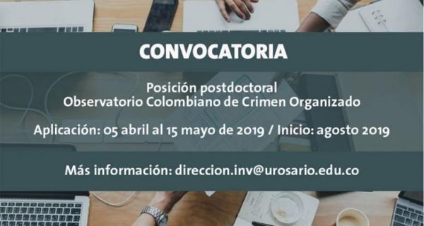 Posición Postdoctoral en el Observatorio Colombiano de Crimen Organizado